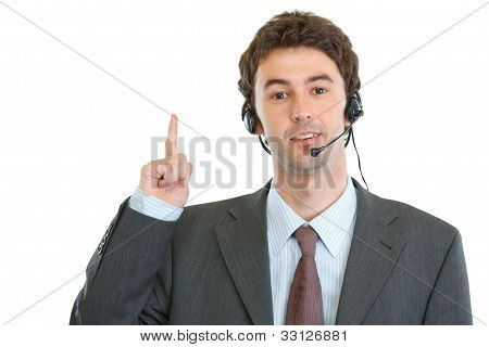 Modern Business Operator With Headset Got Idea