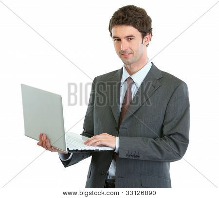 Modern Businessman With Laptop