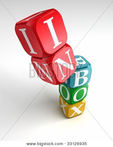 Inbox Sign 3D Colorful Box Tower