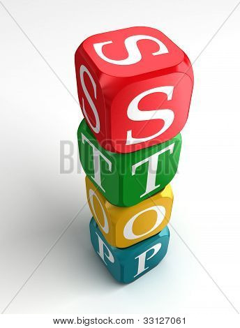 Stop Sign 3D Colorful Box Tower