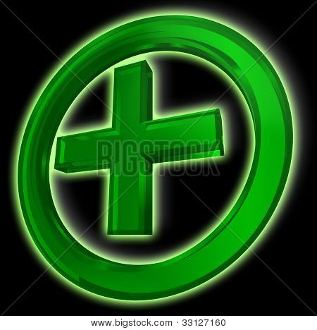 Green Cross In Circle On Black Background
