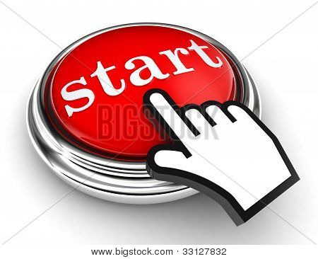 Start Red Button And Pointer Hand