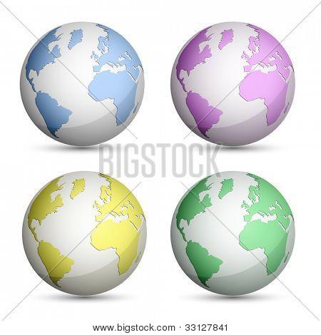 Globe Icons Set. Vector Illustration