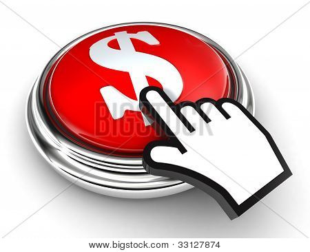 Dollar Symbol Red Button And Pointer Hand