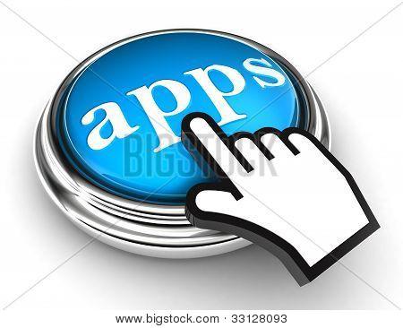 Apps Blue knop en aanwijzer Hand