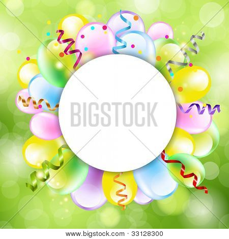 Happy Birthday Background With Balloon, Vector Illustration