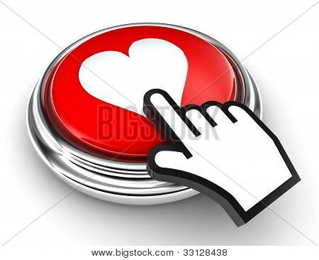 Love Heart Red Button And Pointer Hand