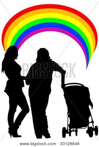 Vector drawing of two women and a baby carriage