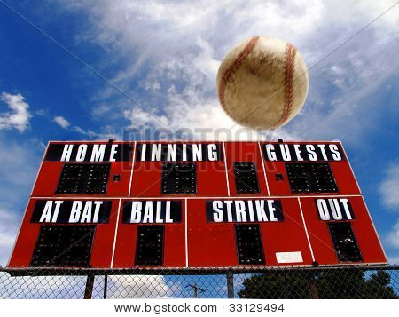 Baseball homerun with scoreboard and Blue Sky