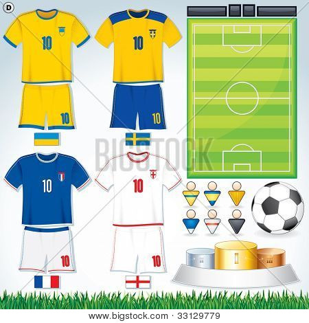 Soccer Vector Collection. Swedish, Ukrainian, French, English Uniform.
