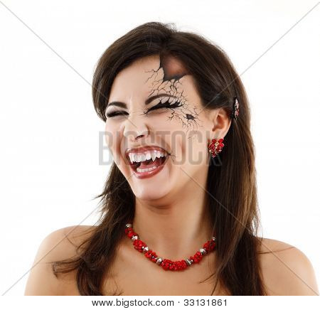 evil vampire woman beautiful halloween over white background