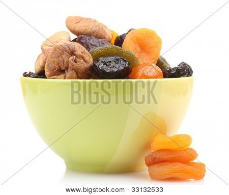 Dried fruits in green bowl isolated on white