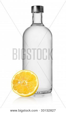 Vodka and lemon isolated