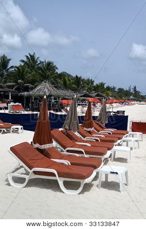 Red Beach Lounge Chairs