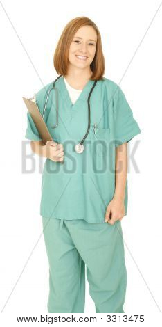 Smiling Nurse Holding Clip Board Look At Camera