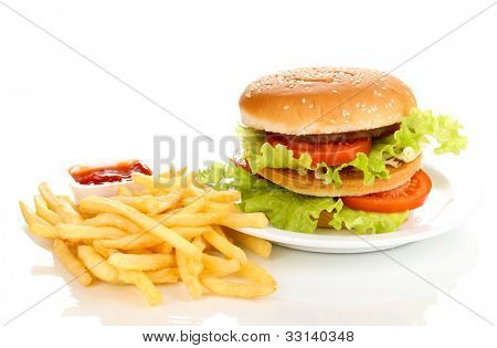 Big and tasty hamburger on plate and fried potatoes isolated on white