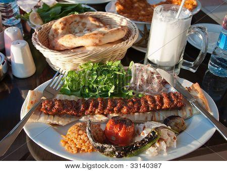 Adana kebab in turkish restaurant