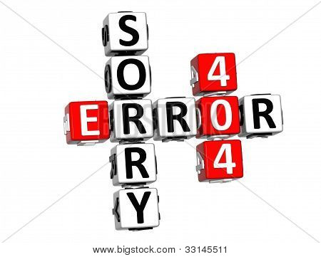 3D Error 404  Sorry Crossword