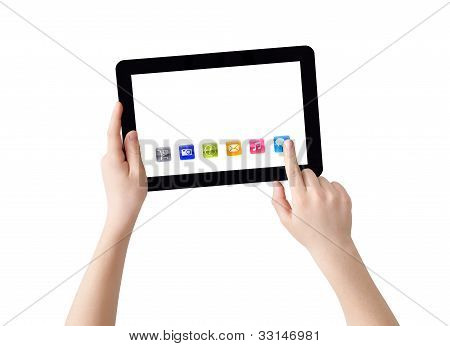 Selecting icon on tablet PC