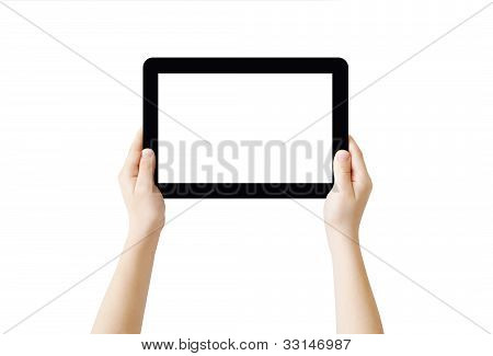 Two hands holding Tablet