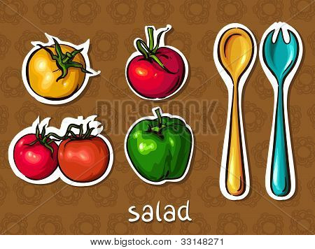 Salad Set. Tomato, Pepper, Spoon And Fork.