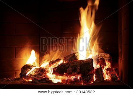 Burning Fire In A Fireplace