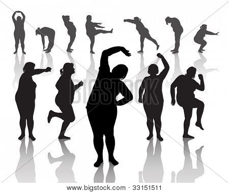 12 figures of thick women doing morning exercises