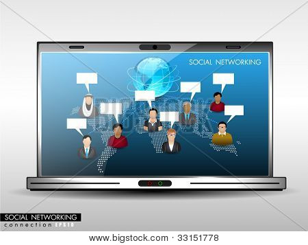 Social network, communication in the global networks showing with worldwide people communicating and laptop screen.isolated on white background. EPS 10. Vector illustration.