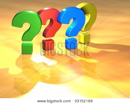 Word Question Mark On Yellow Background