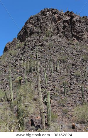 Rocky Picacho Peak in Arizona Desert