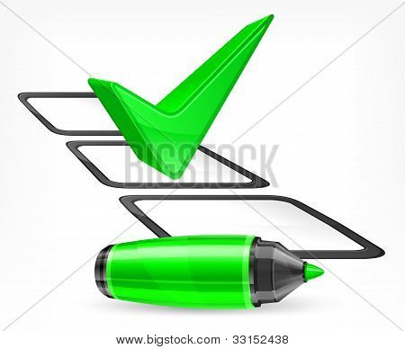 Green Marker With Big Check Mark