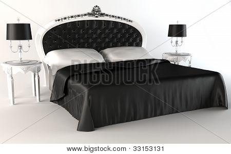 Modern Bedroom Suite. Bed. Lamp. Table.