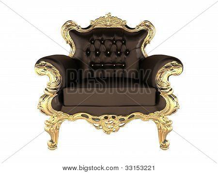 Poltrona com luxo de couro moldura de ouro