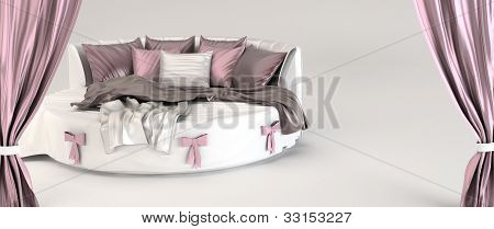 Round Bed With Pillows And Silk  Coverlet. Opened Curtain. Demonstration.