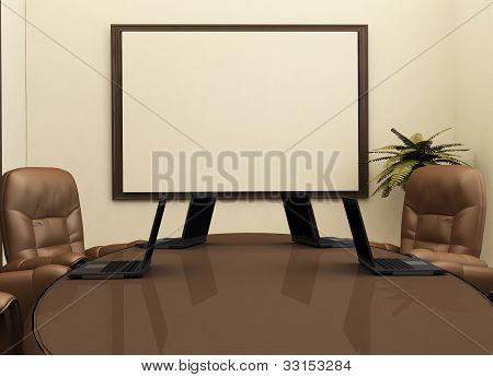 Arbeitsplatz mit Computer im Büro Interieur. Rezeption