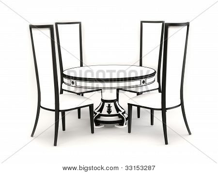 Chairs With Round Table Isolated On White Background