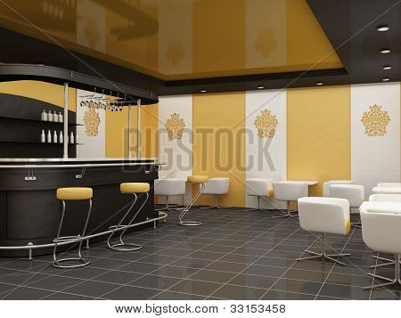 Public Architecture. Dining Room.construction Of A Ceiling At Restaurant. Bar With Standing Chair An