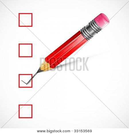 illustration of pencil making tick in check box