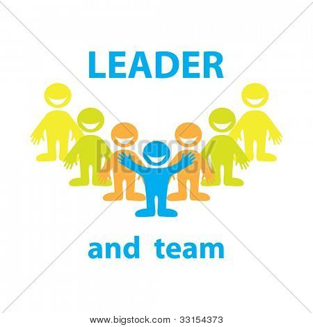 Leader and his team. Business design. Vector&