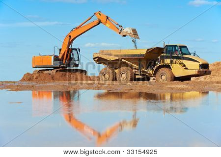 wheel loader excavator machine loading dumper truck at sand quarry
