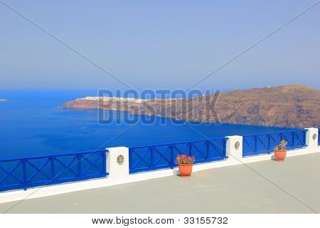 View on caldera and sea from balcony, Santorini, Greece