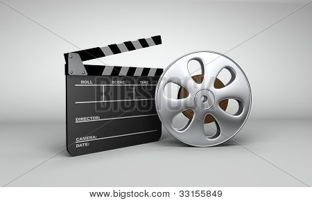 Movie Reel & Clapboard