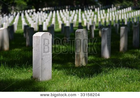 Headstones in Arlington National Cemetery - Washington DC United States