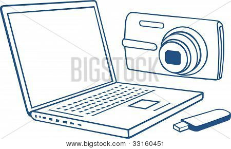 Laptop, photo camera, usb flash drive