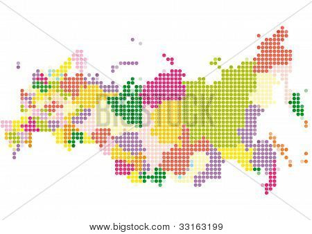 Dot Style Illustration of Russia map