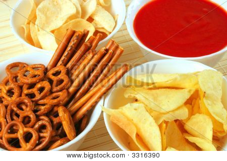 Snacks And Salsa Dip Sauce