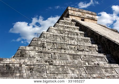 Kukulkan Pyramid Looming Above Chichen Itza