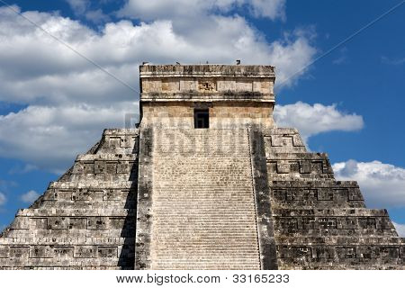 Kukulkan Pyramid Top At Chichen Itza