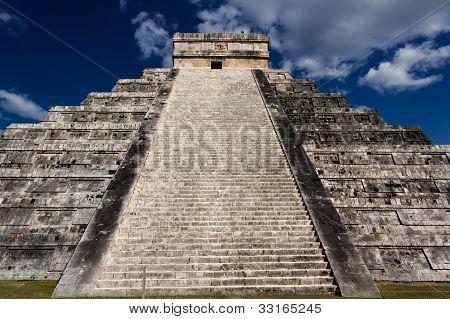 Up Kukulkan Pyramid Stairs Landscape