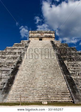 Up Kukulkan Pyramid Stairs Portrait